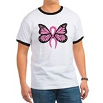 Breast Cancer Butterfly Ringer T