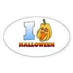 I Love Halloween Oval Sticker (50 pk)