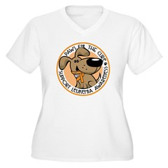Paws for the Cure: Leukemia Women's Plus Size V-Neck T-Shirt