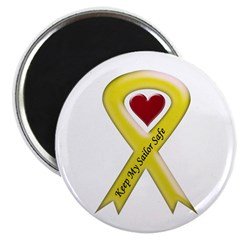"Keep My Sailor Safe Yellow Ribbon 2.25"" Magnet (10"