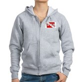 Pirate-style Diver Flag Women's Zip Hoodie