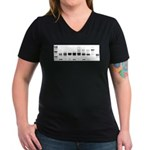 Women's V-Neck Dark T-Shirt : Sizes Small,Medium,Large,X-Large  Available colors: Black,Heather Grey