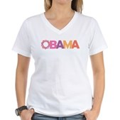 Obama Flowers Women's V-Neck T-Shirt