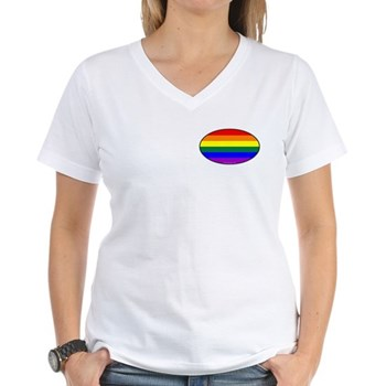 Oval Rainbow Pride Women's V-Neck T-Shirt