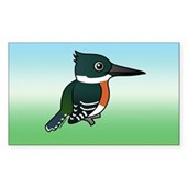 Green Kingfisher Rectangle Sticker