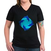 Dolphin Ring Women's V-Neck Dark T-Shirt