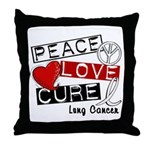 PEACE LOVE CURE Lung Cancer Throw Pillow
