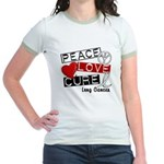 PEACE LOVE CURE Lung Cancer Jr. Ringer T-Shirt