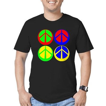 Colorful Peace Orbs Peace Sign on a Black T-Shirt Made in the USA organically