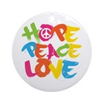 Hope Peace Love Ornament (Round)