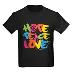 Hope Peace Love Kids Dark T-Shirt