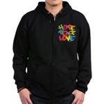Hope Peace Love Zip Hoodie (dark)