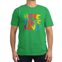 Hope Peace Love Men's Fitted T-Shirt (dark)
