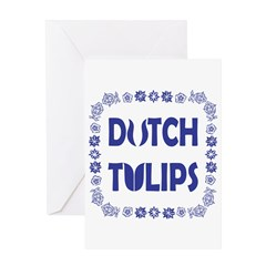 Dutch Tulips Delft Blue Style Greeting Card