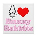 I Love Runny Babbits Tile Coaster
