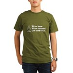We're Here We're Sheared Get Used To It! Organic Men's T-Shirt (dark)