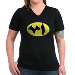Bat Man Women's V-Neck Dark T-Shirt