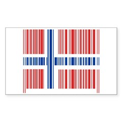 Barcode Norway Flag Sticker (Rectangle)
