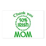 50% Irish - Thank You Mom Postcards (Package of 8)