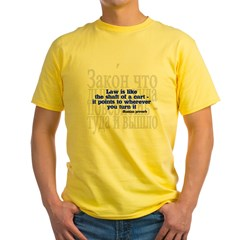 Law is like the shaft of a cart.. Yellow T-Shirt
