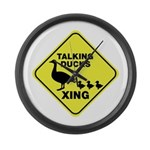 Talking Ducks Crossing Large Wall Clock