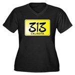313 License Plate Women's Plus Size V-Neck Dark T-Shirt