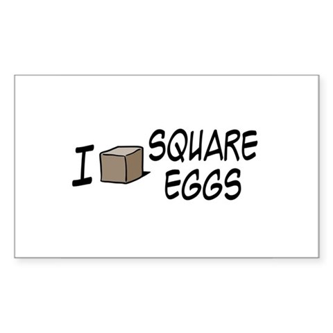 I Love Square Eggs Rectangle Sticker