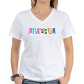 Colorful Retro Liberal Women's V-Neck T-Shirt