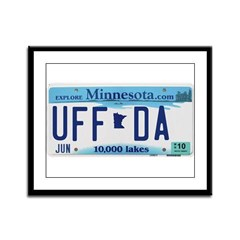 Uffda License Plate Shop Framed Panel Print
