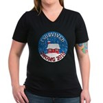 I Survived SNOMG 2010 Women's V-Neck Dark T-Shirt