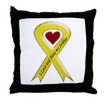 Yellow Ribbon Love Miss Soldier Throw Pillow