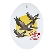 Gulf Coast Pelicans Ornament (Oval)