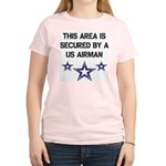 AREA SECURED US AIRMAN Women's Pink T-Shirt