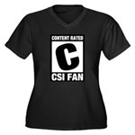 Content Rated C: CSI Fan Women's Plus Size V-Neck Dark T-Shirt