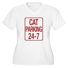Cat Parking Women's Plus Size V-Neck T-Shirt
