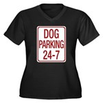 Dog Parking Women's Plus Size V-Neck Dark T-Shirt