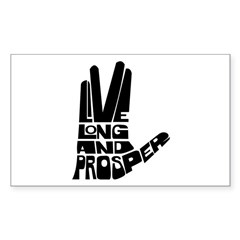Live long and Prosper Sticker (Rectangle)