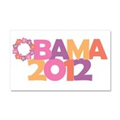 Obama Flowers 2012 Car Magnet 12 x 20
