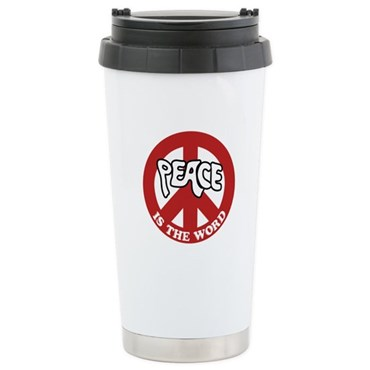 Peace is the word Ceramic Travel Mug