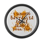 Ivrea Battle Of The Oranges Souvenirs Gifts Tees Large Wall Clock