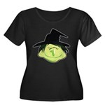 Happy Green Witch Women's Plus Size Scoop Neck Dark T-Shirt