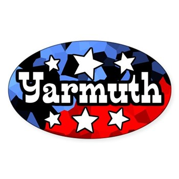 Yarmuth!  (Pro-Yarmuth Bumper Sticker for the Kentucky Congressional Campaign in an active red white and blue oval design)