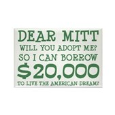 Mitt Will You Adopt Me? Rectangle Magnet
