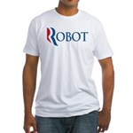 This anti-Romney design is a spoof of the Mitt Romney 2012 campaign logo. Instead of the candidate's name, we have the word ROBOT. Romney is just another GOP good-idea-bashing robot.