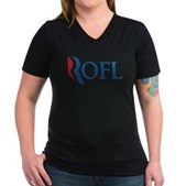 Anti-Romney ROFL Women's V-Neck Dark T-Shirt