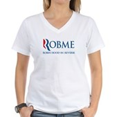 Anti-Romney Rob Me Robin Hood Women's V-Neck T-Shi