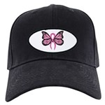 Breast Cancer Butterfly Black Cap