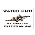 WATCH OUT Military Husband M-4 Postcards (8 pack)