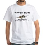 WATCH OUT MILITARY WOMAN M-4 White T-Shirt