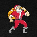 Super Santa Claus Carrying Sack Isolated Cartoon T